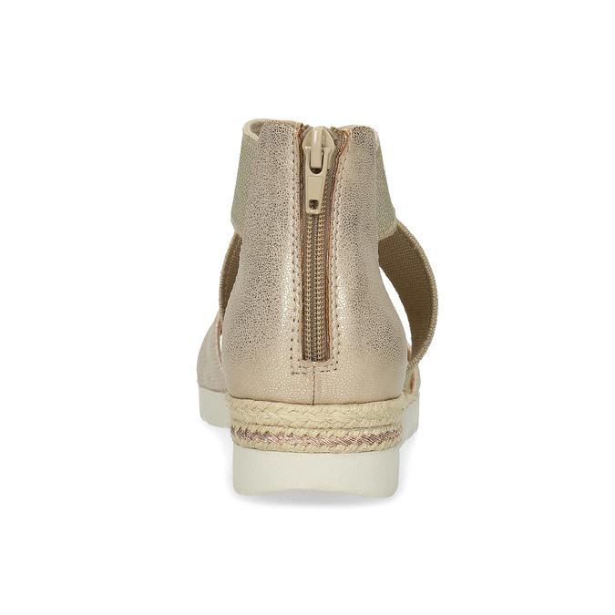 Złote sandały damskie na koturnach bata, beżowy, 569-8608 - 15