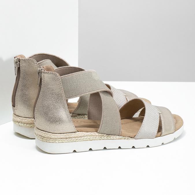 Złote sandały damskie na koturnach bata, beżowy, 569-8608 - 16