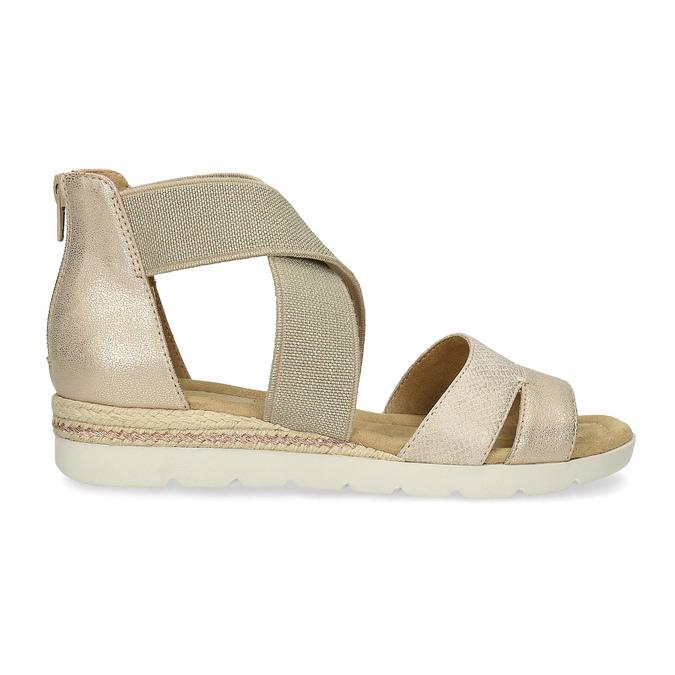 Złote sandały damskie na koturnach bata, beżowy, 569-8608 - 19