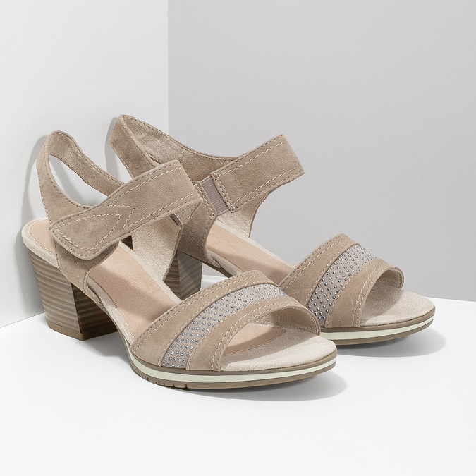 Skórzane sandały oszerokościH zkryształkami bata, beżowy, 666-8616 - 26