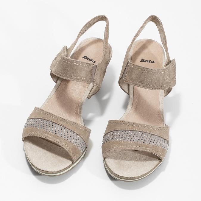 Skórzane sandały oszerokościH zkryształkami bata, beżowy, 666-8616 - 16