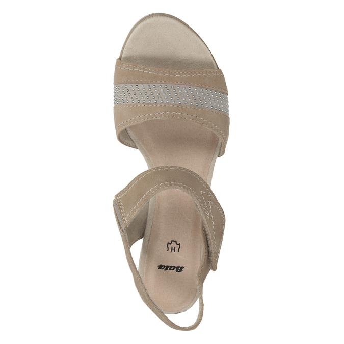 Skórzane sandały oszerokościH zkryształkami bata, beżowy, 666-8616 - 15