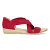 Czerwone skórzane sandały na koturnach bata, czerwony, 563-5600 - 19