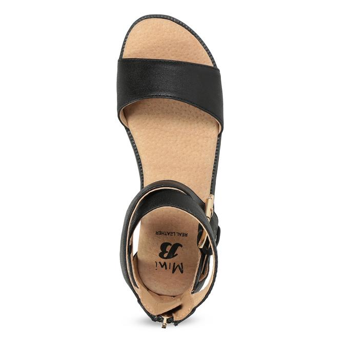 Czarne sandały damskie ze złotymi klamrami mini-b, czarny, 361-6606 - 17