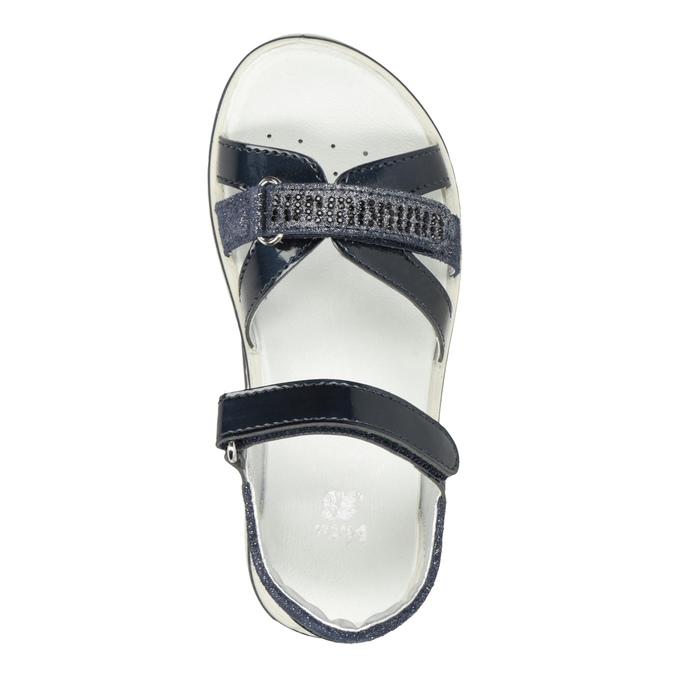Granatowe sandały dziewczęce zkryształkami mini-b, niebieski, 361-9612 - 17