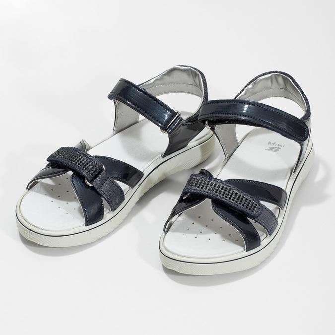 Granatowe sandały dziewczęce zkryształkami mini-b, niebieski, 361-9612 - 16