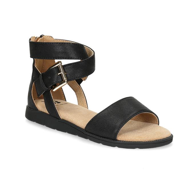Czarne sandały damskie ze złotymi klamrami mini-b, czarny, 361-6606 - 13
