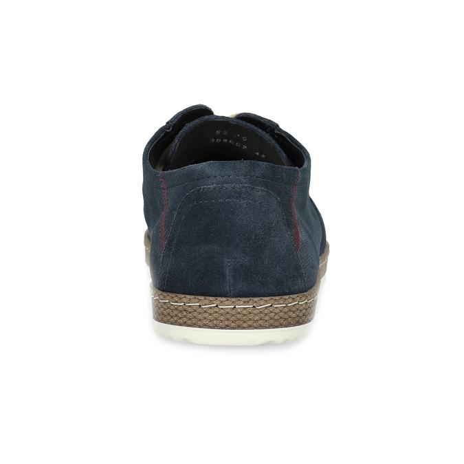 Granatowe skórzane trampki zperforacją bata, niebieski, 823-9617 - 15