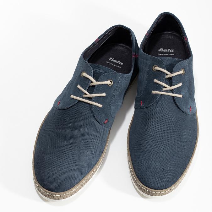 Granatowe skórzane trampki zperforacją bata, niebieski, 823-9617 - 16
