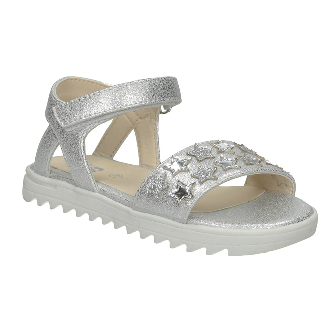 Srebrne sandały dziewczęce zgwiazdkami mini-b, srebrny, 261-1211 - 13