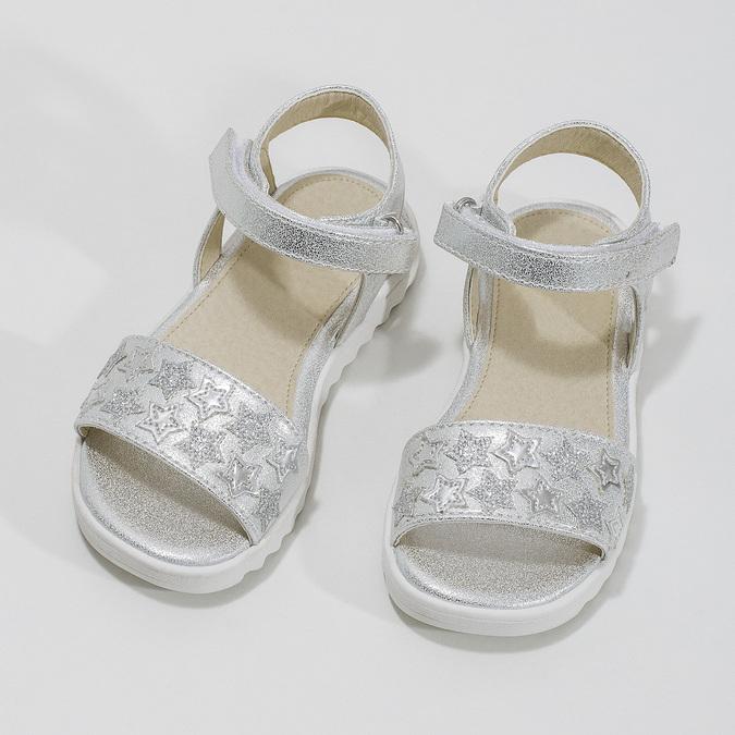 Srebrne sandały dziewczęce zgwiazdkami mini-b, srebrny, 261-1211 - 16