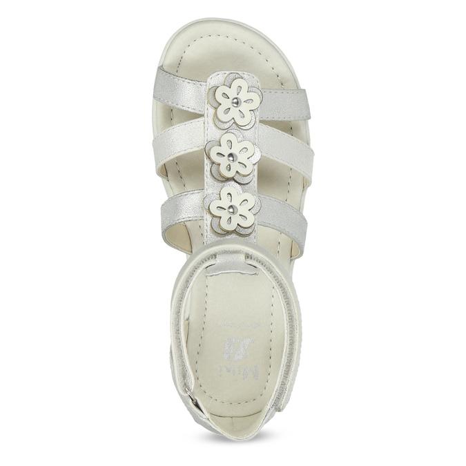 Srebrne sandały dziewczęce zkwiatkami mini-b, srebrny, 261-1614 - 17