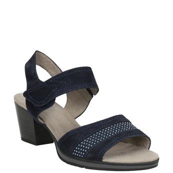 Niebieskie skórzane sandały oszerokościH bata, niebieski, 666-9616 - 13