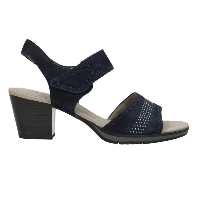 Niebieskie skórzane sandały oszerokościH bata, niebieski, 666-9616 - 26