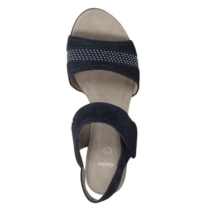 Niebieskie skórzane sandały oszerokościH bata, niebieski, 666-9616 - 15