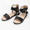 Czarne sandały damskie ze złotymi klamrami mini-b, czarny, 361-6606 - 16