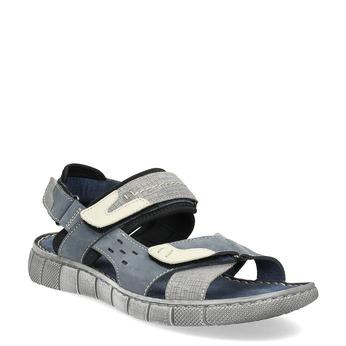 Granatowe skórzane sandały męskie na rzepy bata, niebieski, 866-9640 - 13