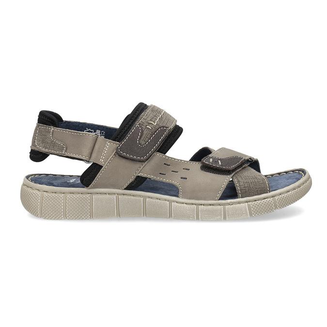 Szare skórzane sandały na rzepy bata, brązowy, 866-4640 - 19