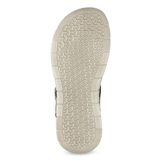 Szare skórzane sandały na rzepy bata, brązowy, 866-4640 - 18