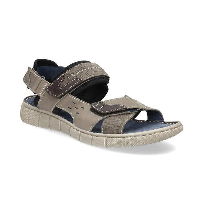 Szare skórzane sandały na rzepy bata, brązowy, 866-4640 - 13