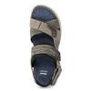 Szare skórzane sandały na rzepy bata, brązowy, 866-4640 - 17