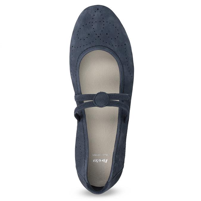 Skórzane baleriny damskie zperforacją bata, niebieski, 526-9662 - 17