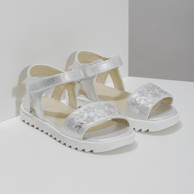 Srebrne sandały dziewczęce zgwiazdkami mini-b, srebrny, 261-1211 - 26