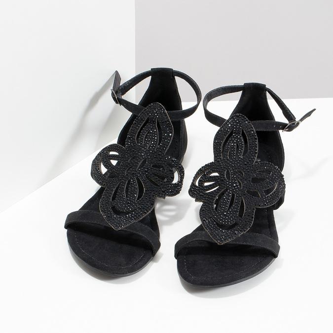 Sandały damskie zkryształkami bata, czarny, 569-6614 - 16