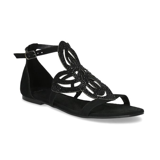 Sandały damskie zkryształkami bata, czarny, 569-6614 - 13