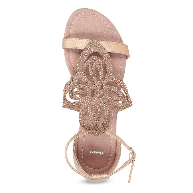 Sandały damskie wkolorze starego różu, ozdobione kryształkami bata, różowy, 561-5614 - 17