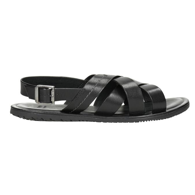 Czarne skórzane sandały ze skrzyżowanymi paskami bata, czarny, 864-6602 - 16
