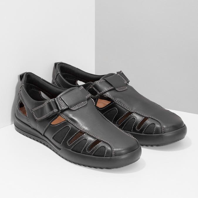 Skórzane sandały męskie zprzeszyciami comfit, czarny, 856-6605 - 26