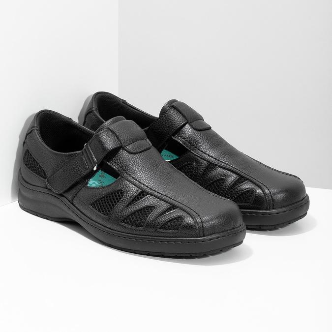 Skórzane sandały męskie weleganckim stylu pinosos, czarny, 864-6625 - 26