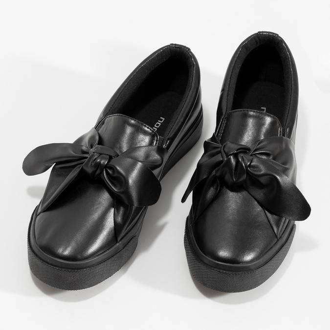 Czarne slip-on damskie zkokardami north-star, czarny, 511-6606 - 16