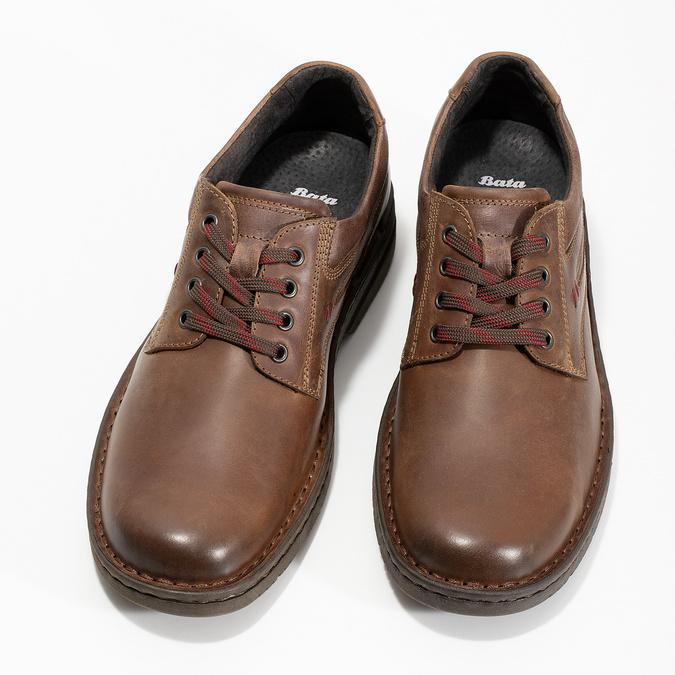 Brązowe nieformalne półbuty ze skóry bata, brązowy, 826-4918 - 16