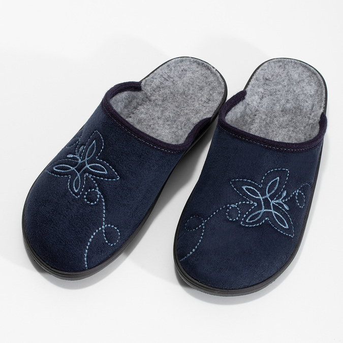 Granatowe kapcie damskie bata, niebieski, 579-9621 - 16