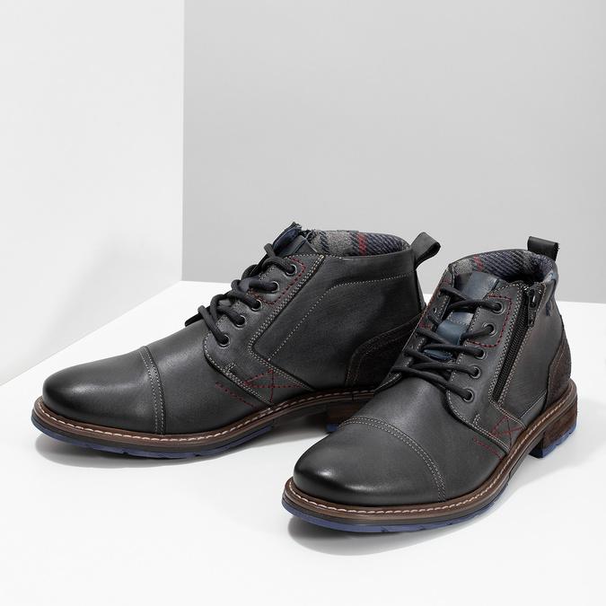 Skórzane obuwie męskie za kostkę zzamkami błyskawicznymi bata, szary, 896-2678 - 16