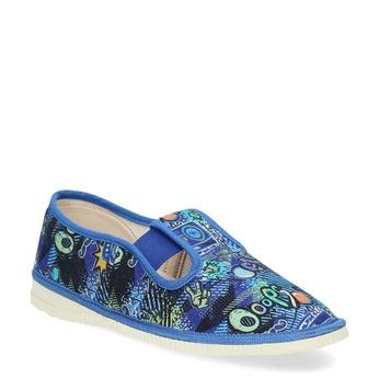 Niebieskie wzorzyste kapcie dziecięce bata, niebieski, 379-9125 - 13