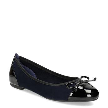 Granatowe baleriny damskie zkokardkami bata, niebieski, 529-9640 - 13