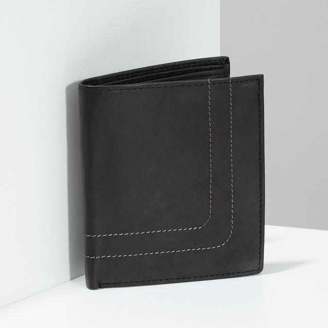 Skórzany portfel z przeszyciami bata, brązowy, 944-6148 - 17