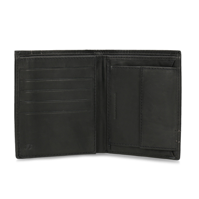 Skórzany portfel z przeszyciami bata, brązowy, 944-6148 - 15